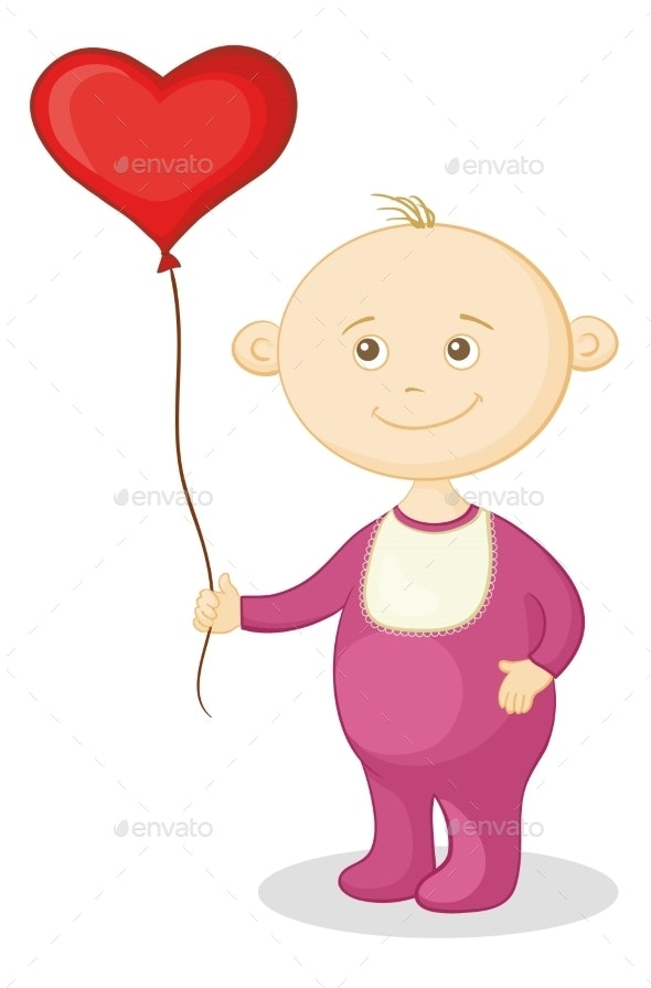 Baby with a Heart Balloon - People Characters