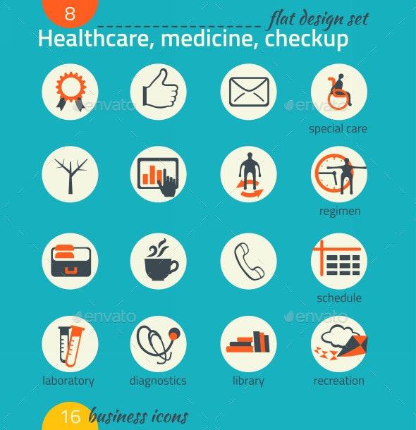 Business Icon Set. Healthcare, Medicine, Diagnose