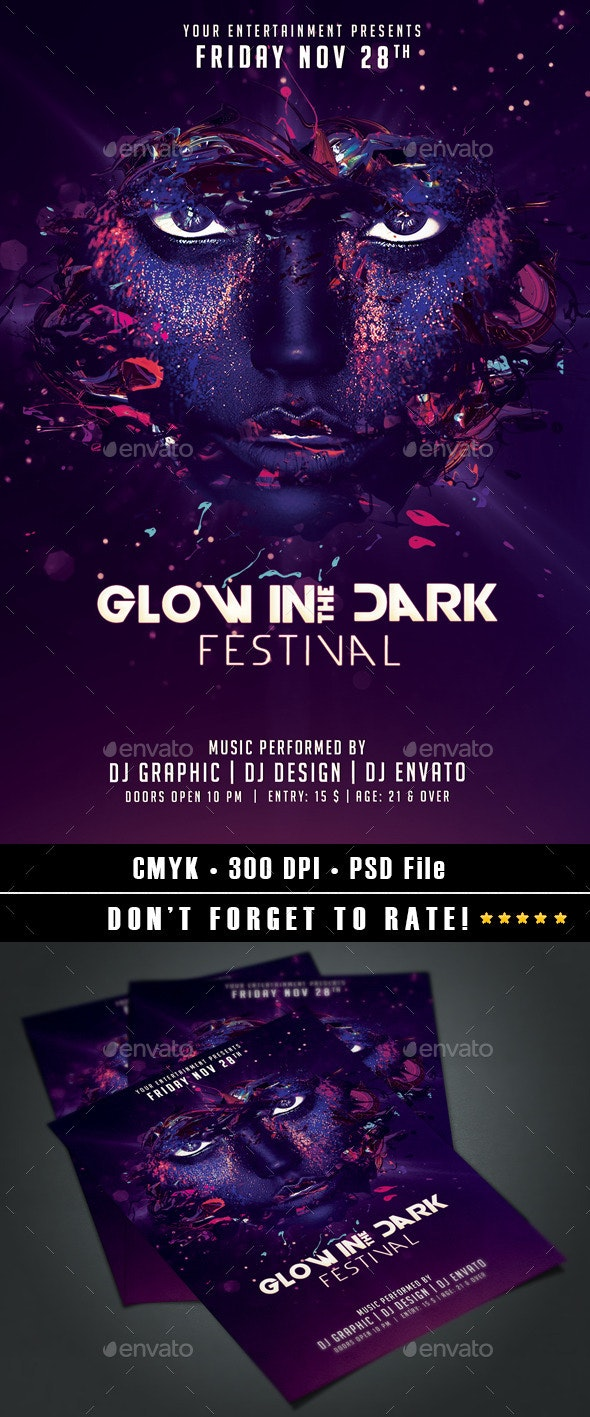 Glow in the Dark Festival - Events Flyers