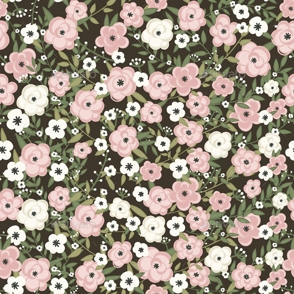 Retro Flowers Pattern in Vector - Patterns Decorative