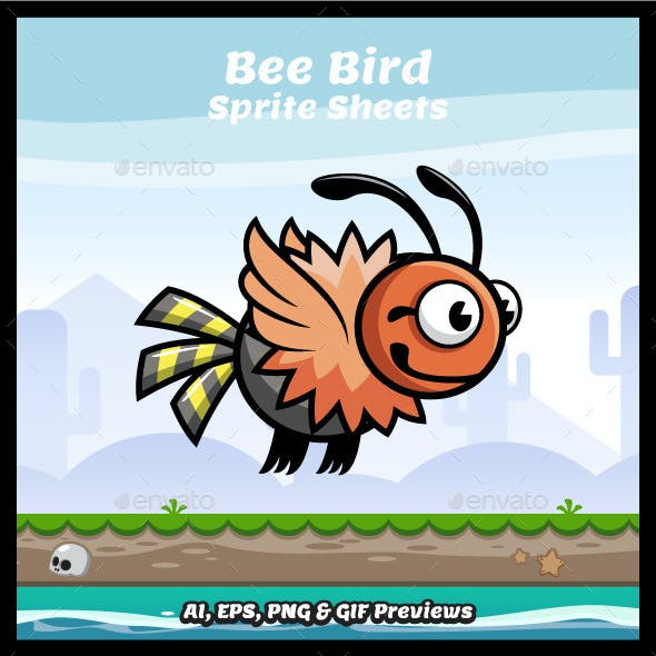 Bee Bird Game Character Sprite Sheets