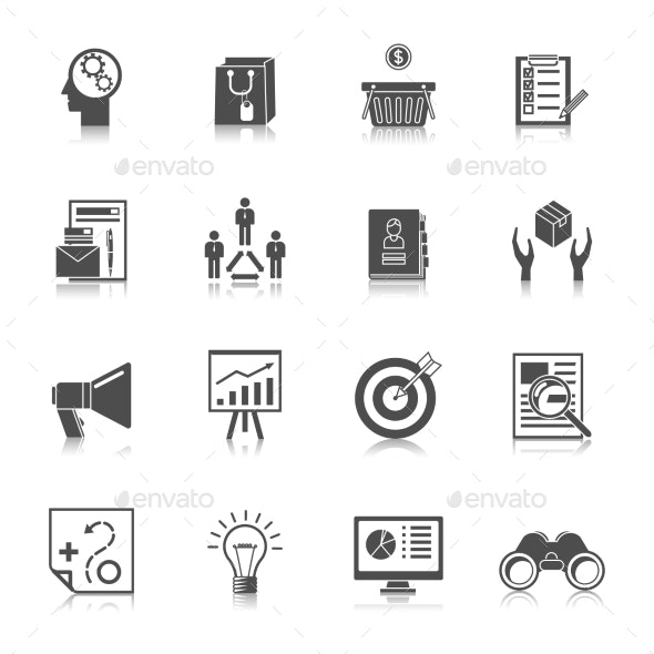 Marketers Black Icons Set - Web Icons