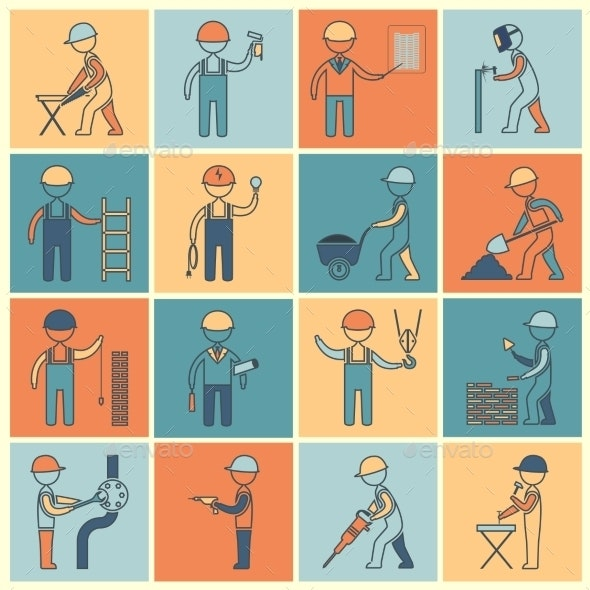 Construction Worker Icons Flat Line - Industries Business