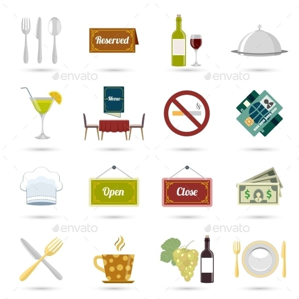 Restaurant Icons Set - Food Objects