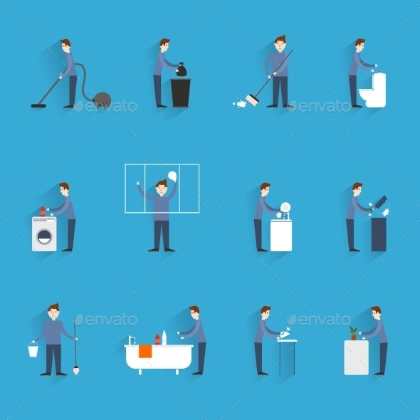 Cleaning People Flat - People Characters