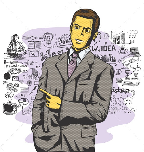 Vector Business Man Show Something With Finger - People Characters