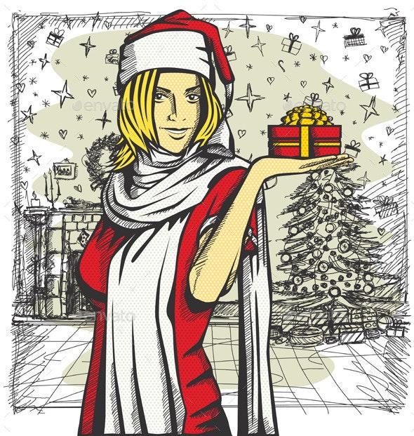 Vector Woman Waiting For Christmas - Christmas Seasons/Holidays