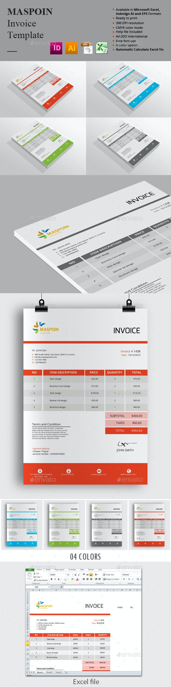 Maspoin Invoice Templates - Proposals & Invoices Stationery