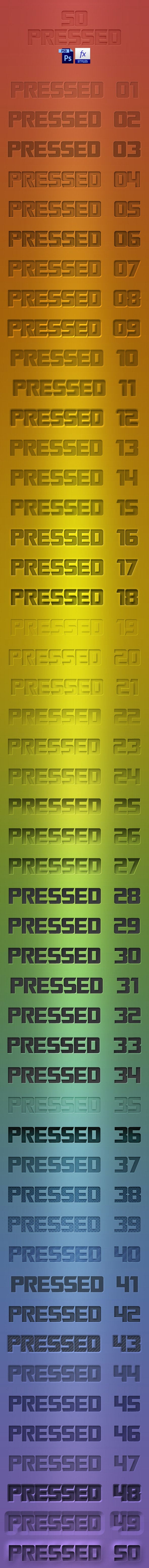 50 Pressed PSD Styles - Styles Photoshop