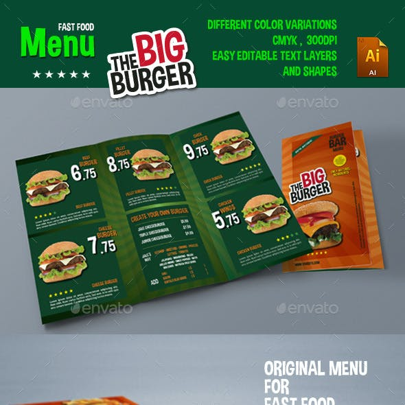 The Big Burger Menu
