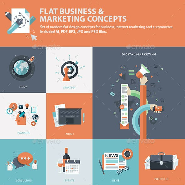 Set of Flat Business & Marketing Concepts