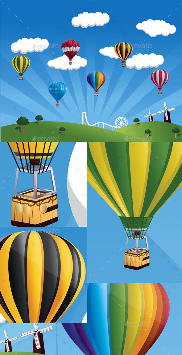 Hot Air Balloons in the Blue Sky - Vectors