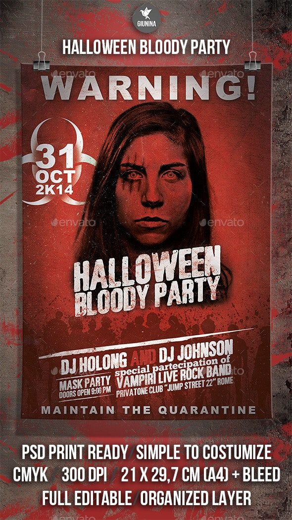 Halloween Bloody Party Flyer/Poster - Events Flyers