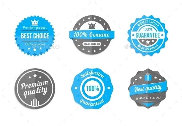 Vector Blue Badges - Web Elements Vectors