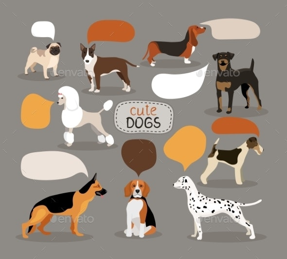 Set of Dog Breeds with Speech Bubbles - Animals Characters