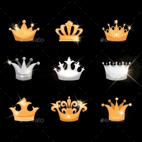 Gold and Silver Crowns Icon Set