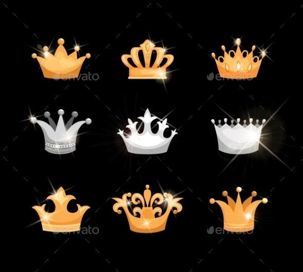 Gold and Silver Crowns Icon Set - Decorative Symbols Decorative
