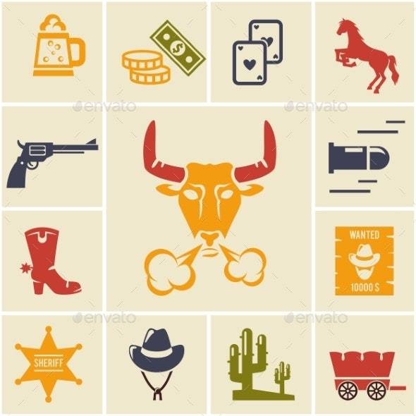 Assortment of Wild West Icons - Miscellaneous Vectors