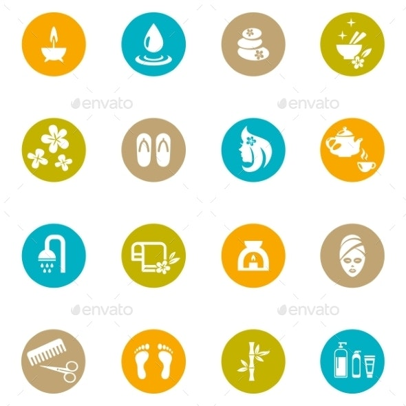 Colored Spa and Zen Icons on White - Health/Medicine Conceptual