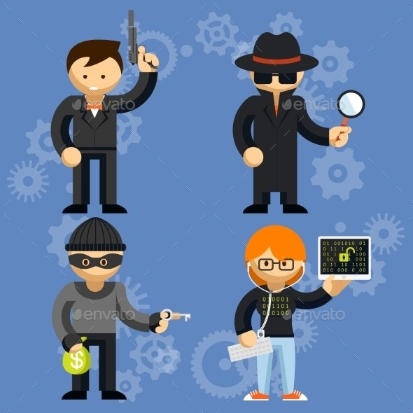 Vector Characters Involved in Criminal Activities - Computers Technology