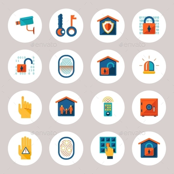 Real Estate Protection Icons - Web Elements Vectors