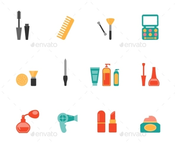 Hairstyling and Makeup Flat Icons - Miscellaneous Vectors