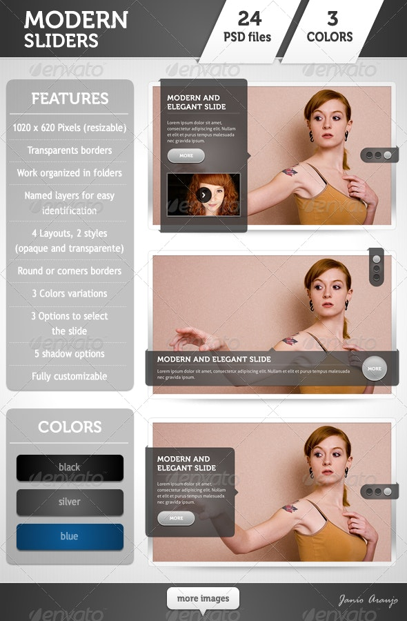 Modern Sliders Template - Sliders & Features Web Elements