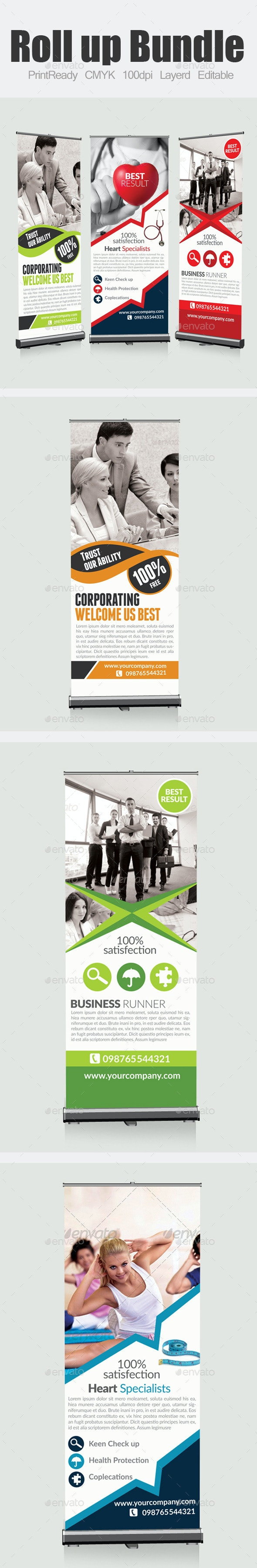 Multi Use Roll up Banners Bundle - Signage Print Templates