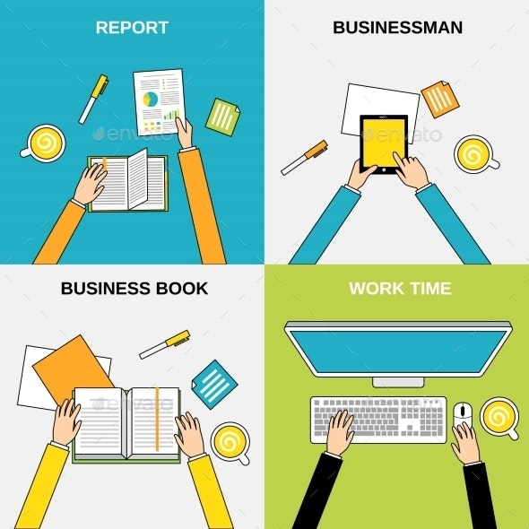 Business Hands Flat Line - Concepts Business