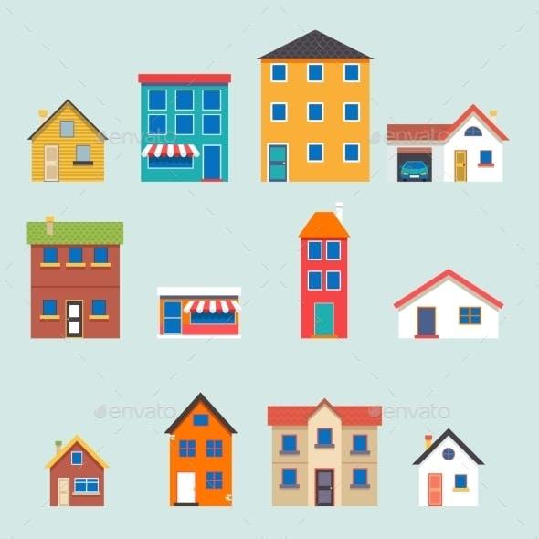 Retro House Street Flat Icons Set
