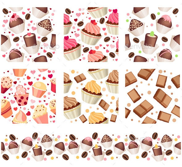 Set with Six Seamless Patterns with Cakes - Food Objects