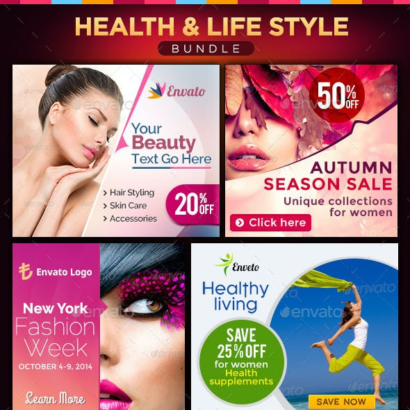 Health & Lifestyle Banners Bundle - 4 Sets