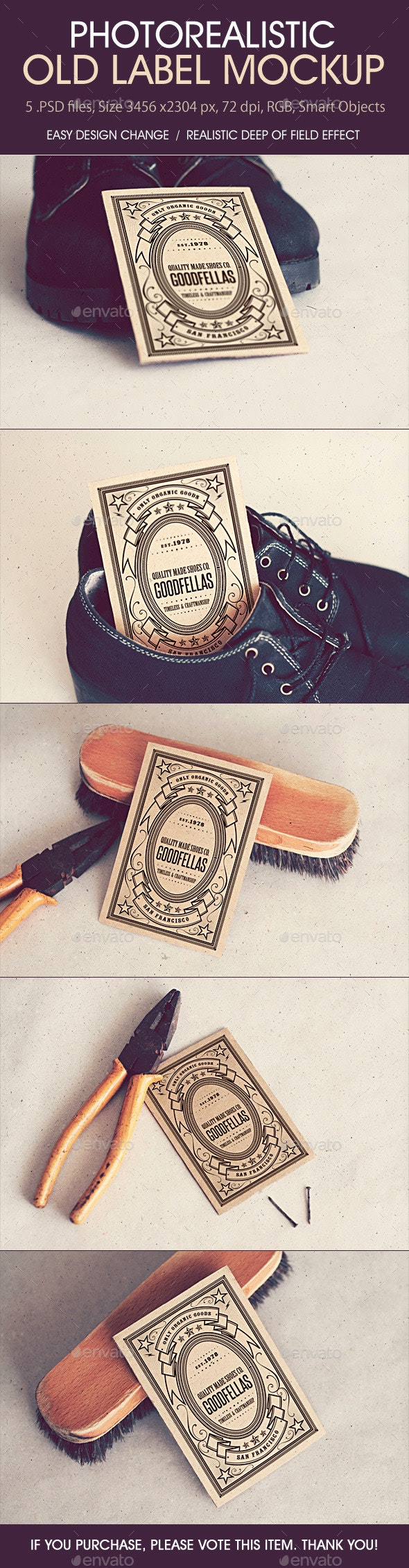 Photorealistic Old Label Mockup - Miscellaneous Print