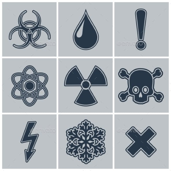 Icon Set of Warning Symbols