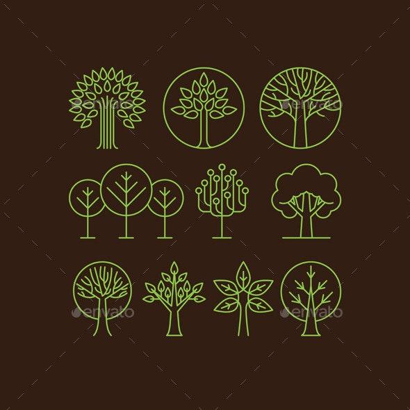 Vector Organic Tree Icons - Decorative Vectors