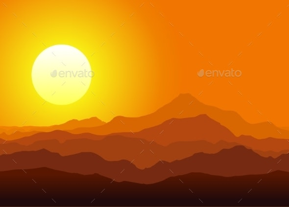 Sunset in the Huge Mountains - Landscapes Nature