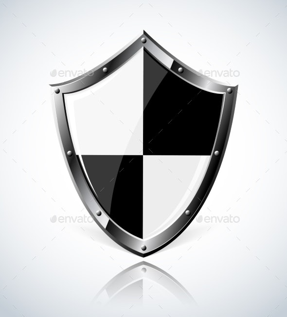 Silver Shield with Reflection - Objects Vectors