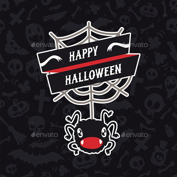 Happy Halloween Card with Spider - Halloween Seasons/Holidays