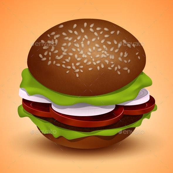 Vector Burger Illustration - Food Objects