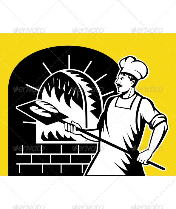 Baker Holding Baking Pan Into Wood Oven - Industries Business