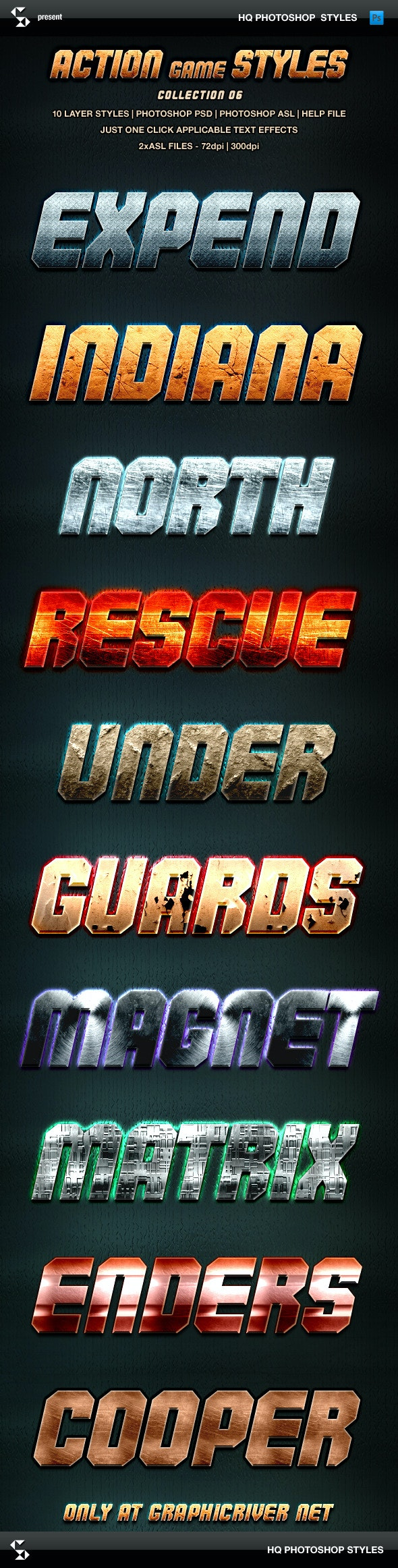 Action Game Styles - Collection 6 - Text Effects Styles