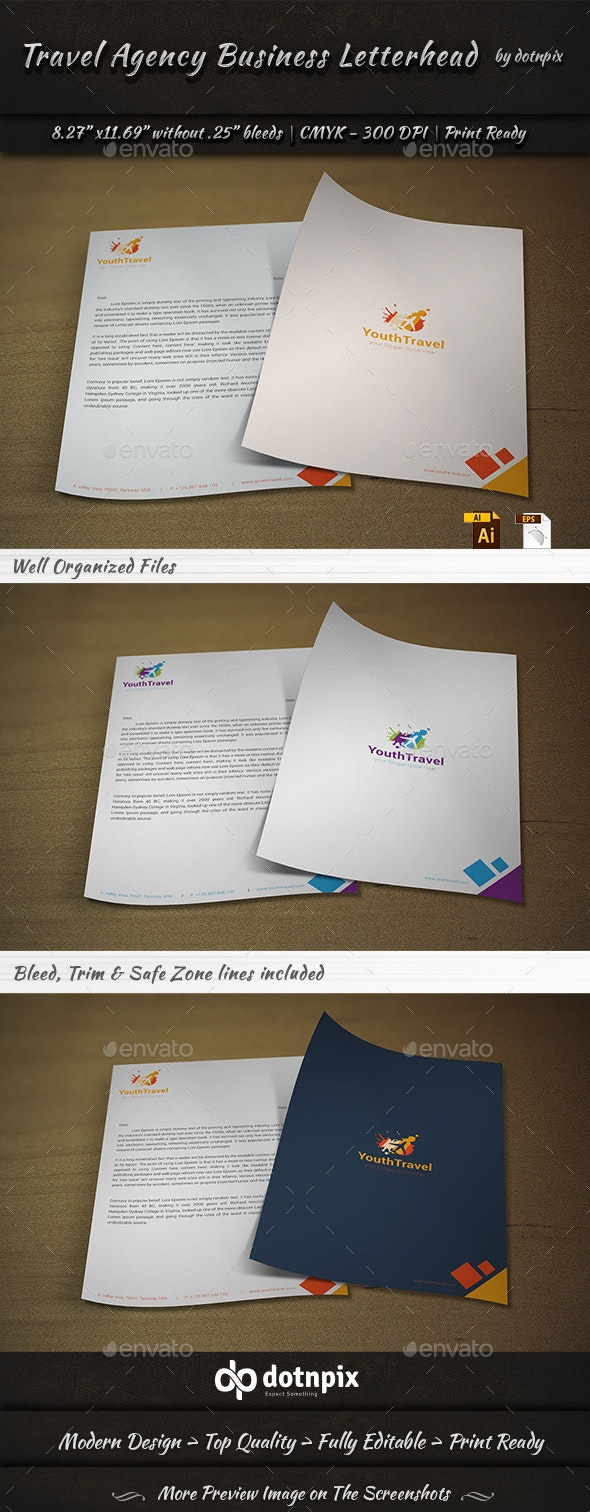 Travel Agency Business Letterhead - Stationery Print Templates