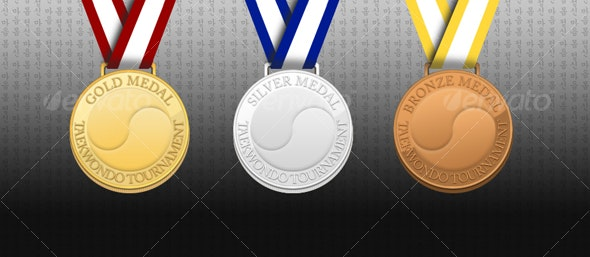 Bronze Silver Gold Tae Kwon Do Medallions - Objects Illustrations