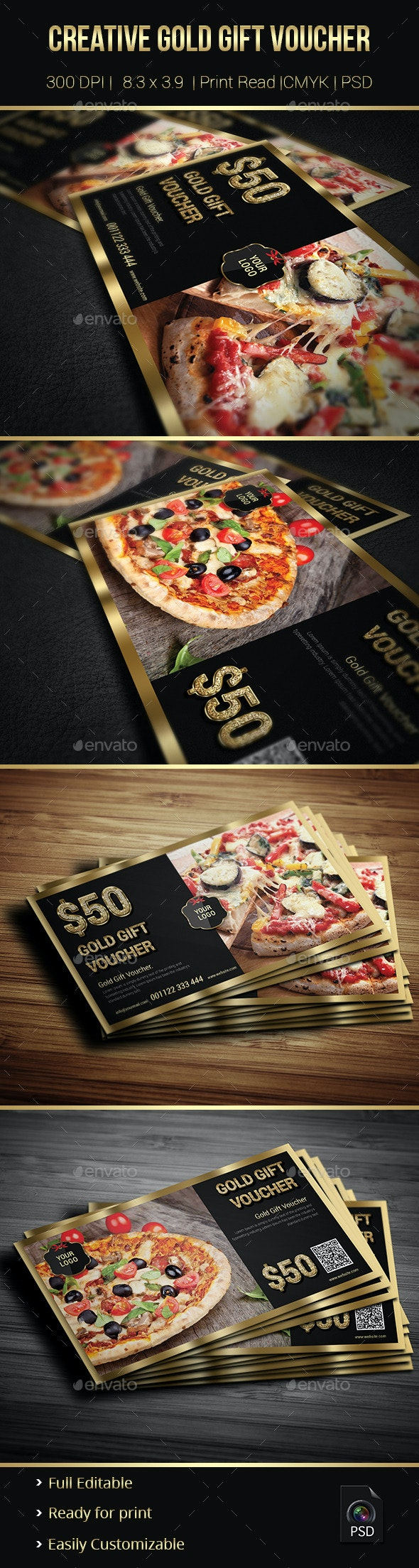 Creative Gold Gift Voucher 02 - Cards & Invites Print Templates