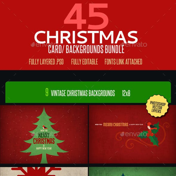 Christmas Card Backgrounds Bundle