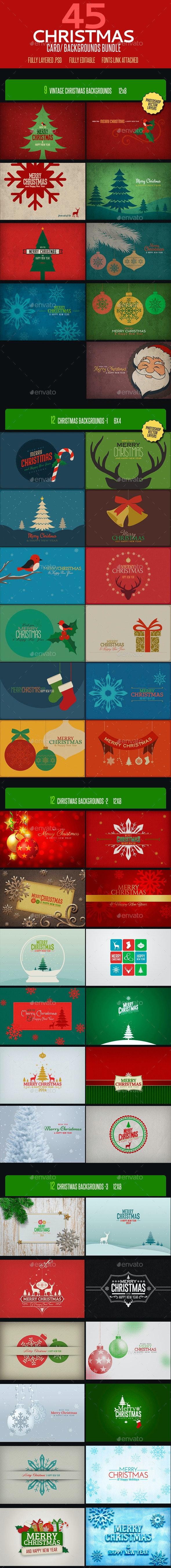 Christmas Card Backgrounds Bundle - Backgrounds Graphics