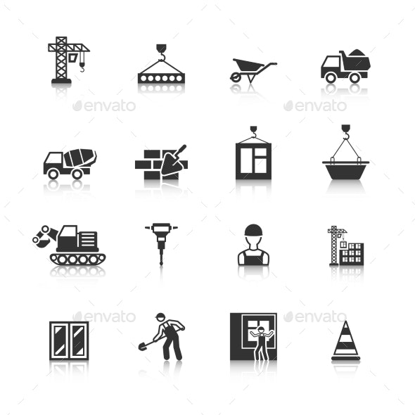 Construction Black Icons Set - Business Icons