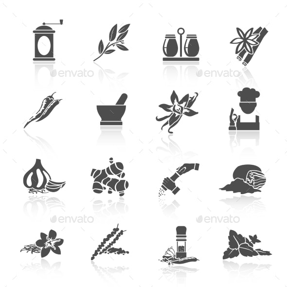 Spices Icons Black - Food Objects