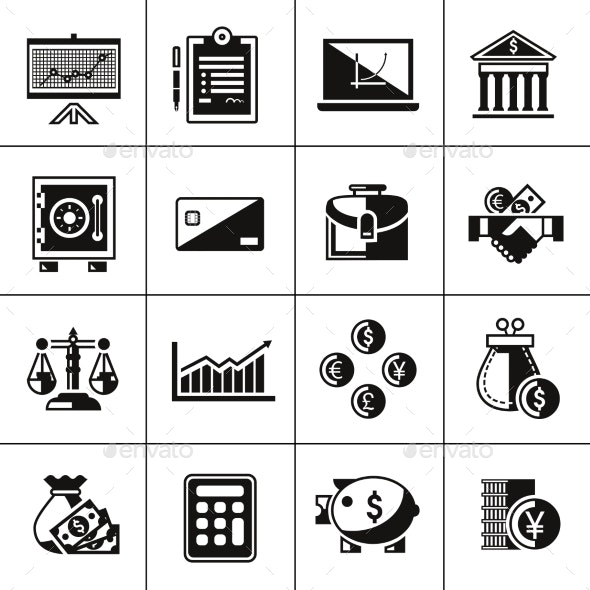 Finance Icons Set Black - Web Elements Vectors