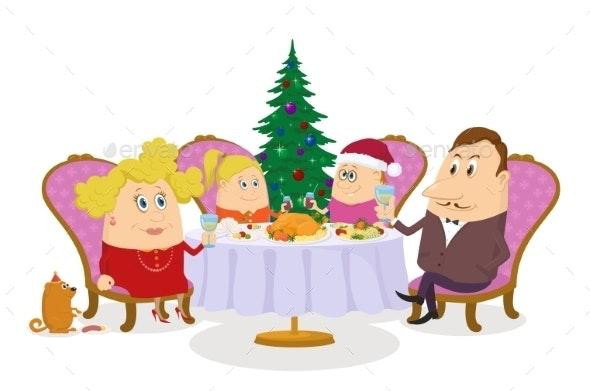 Family Celebrating Christmas, Isolated - Christmas Seasons/Holidays